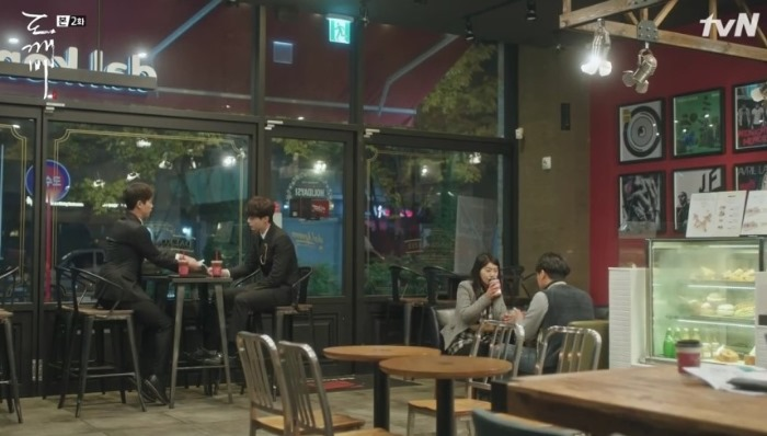 one scene of tv drama Guardian: The Lonely and Great God; the Grim Reaper Lee Dong-wook talking with his junior colleague in the cafe.