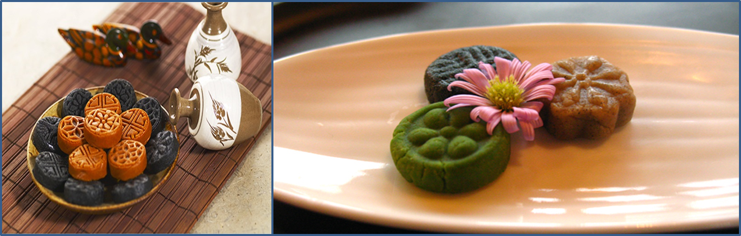 Left: black and red clay colors of round Dasik. / Right: black, red clay and green color of round Dasik.