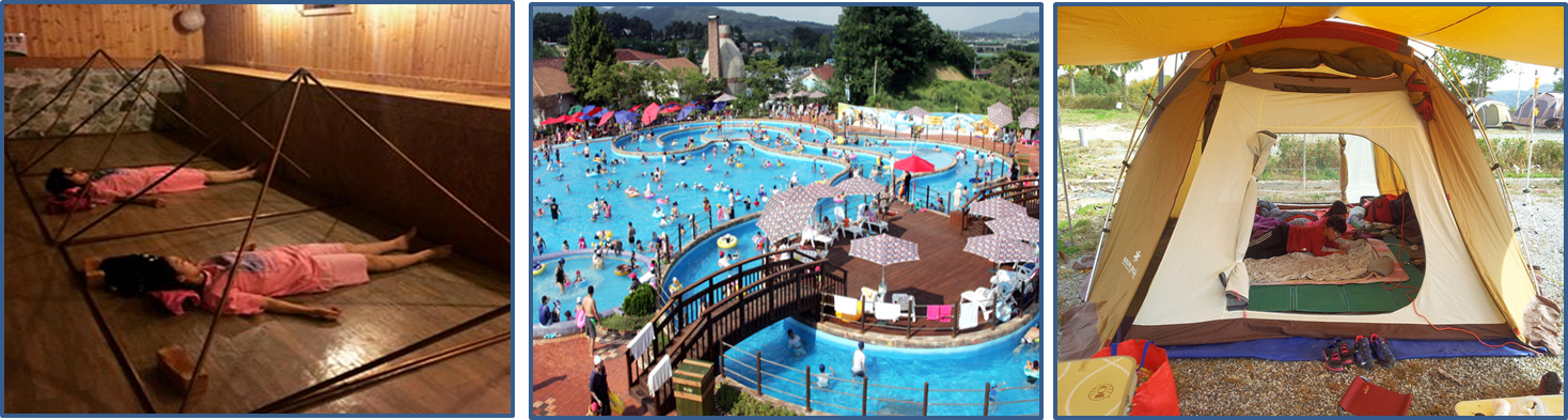 Left: people lying on the wooden floor in the sauna. / Middle: a open view of the waterpark Wonder Pool. Lots of people are swimming in the pool. / Right: Kids are relaxing in a tent set in the camping ground.
