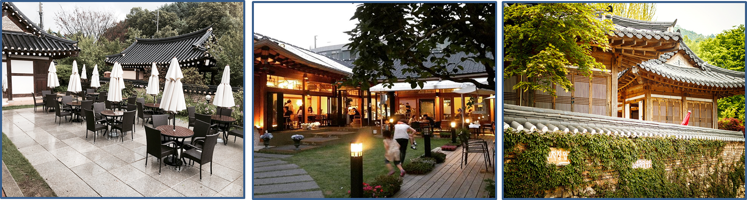 Left: one of Korean traditional style restaurants in Namhansanseong Food Street./ Middle:  This is a beautiful Korean traditional style cafe with a garden and terrace . / Right: a side view of the restaurant's wall built with roof tiles.