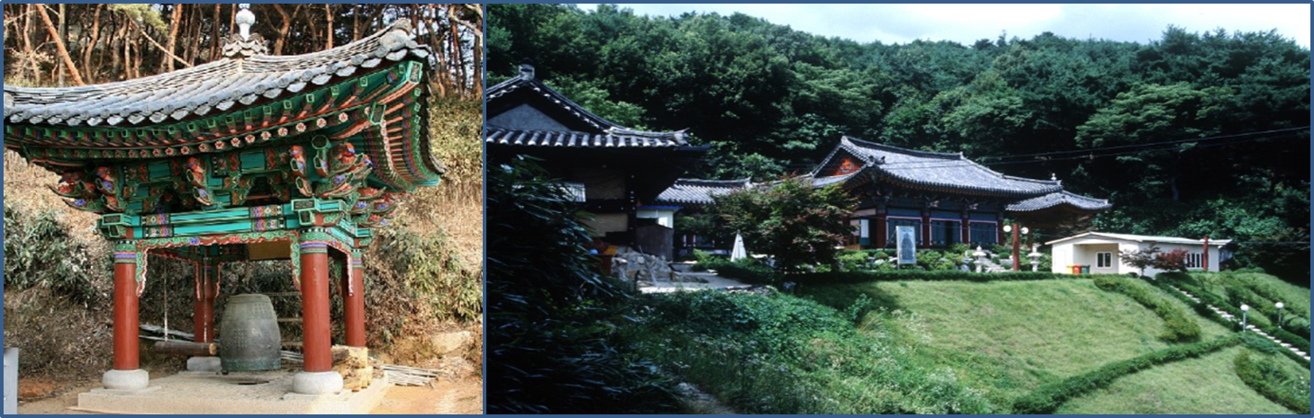 Left: a Buddhist Bell in the Heungwangsa Temple./ Right: a front view of  Heungwangsa Temple surrounded by forest.