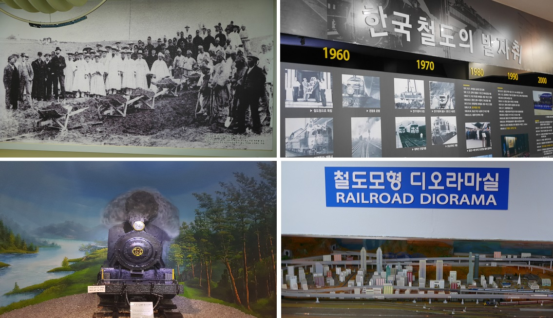 Upper left: a black and white picture of Seoul-Incheon railway groundbreaking ceremony. / Lower left: A front viewo of the model of old steam locomotive. /Upper right: a section of the history of Korean railroad with letters and pictures./ Lower right: It's a Railroad Diorama formed with miniatures of various building and whole railroad vehicle models of Korea.
