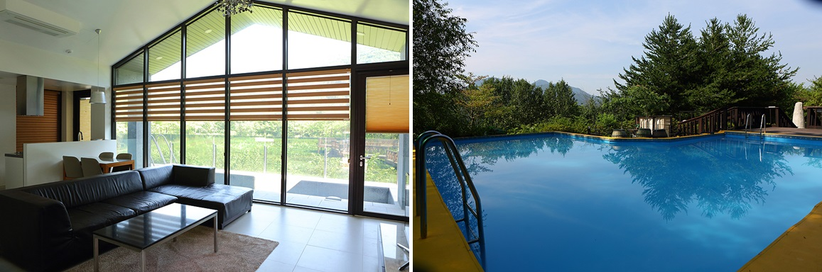 "Left: a spacious living room of the pool villa-type pension ""H-Pond"" with warm sun light. / Right: a big and peacful terrace swimming pool with  the beautiful mountain in the backgournd."