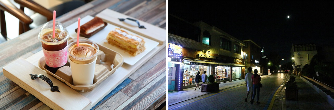 Left: Two glasses of coffee and two desserts looking tasty served at one cafe of Haenglidan-gil. / Right: people are walking on the Haenglidan-gil in the silent and pretty night.
