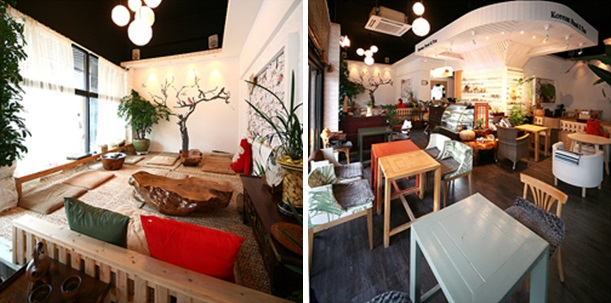 Left: a space to enjoy coffee sitting on the floor of Cafe Yul decorated with trees, looking very cozy. / Right: another space where there are tables and chairs of cafe Yul.
